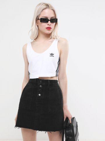 חצאית מיני ג'ינס עם סיומת פרומה