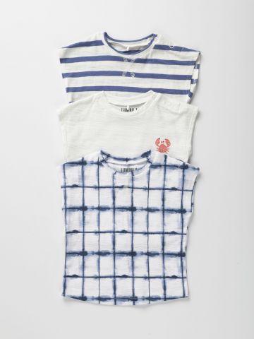 מארז 3 חולצות טי שירט סלאב בהדפסים שונים / 6M-6Y
