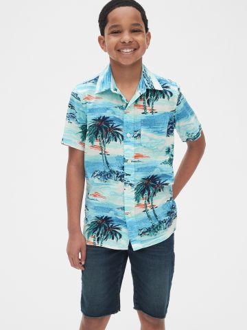 חולצה מכופתרת בהדפס טרופי / בנים