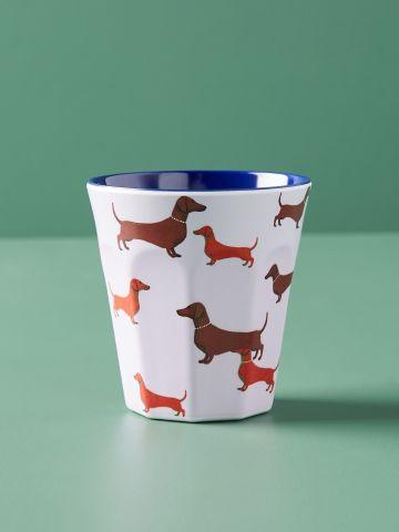 כוס שתייה קרה בהדפס כלבים Colloquial