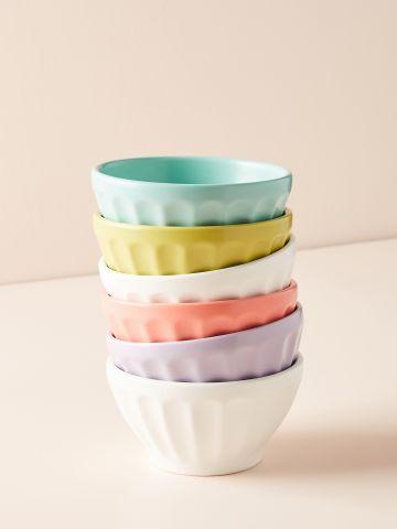 מארז 6 קעריות חרס צבעוניות מאט Latte