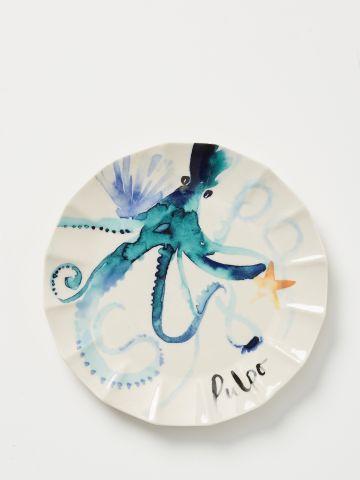 צלחת חרסינה בהדפס תמנון Sarah Hankinson / מנה עיקרית