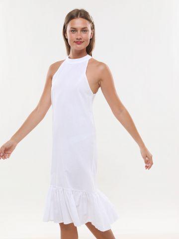שמלת מידי עם סיומת פפלום
