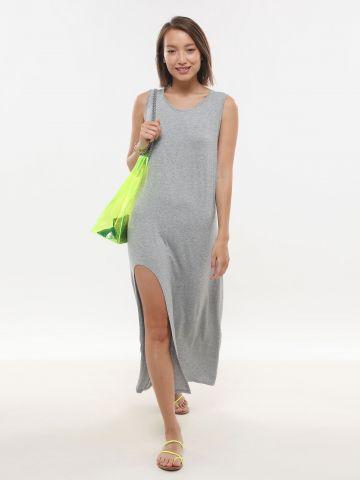 שמלת מקסי מלאנז' עם שסע
