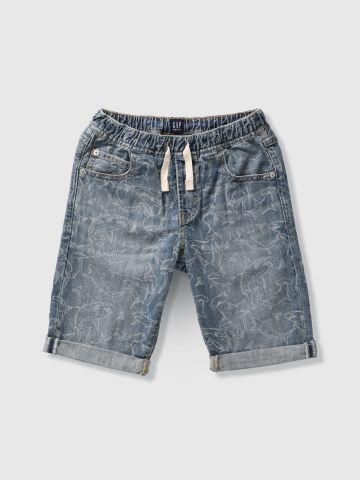 מכנסי ג'ינס קצרים בהדפס כרישים / בנים
