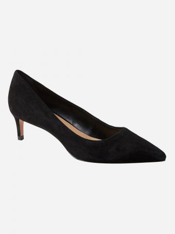 נעלי עקב זמש עם קצה מחודד