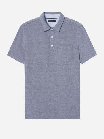 חולצת פולו מלאנז' עם כיס / גברים