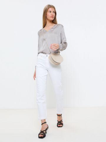 ג'ינס ארוך בגזרה ישרה Mid-Rise Straight