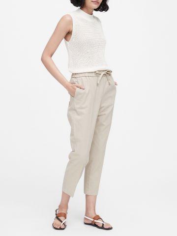 מכנסי פשתן ארוכים עם קשירה / נשים