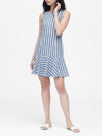 שמלת פפלום מיני בהדפס פסים