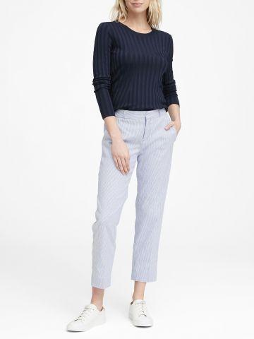 מכנסי פשתן ארוכים בהדפס פסים Avery Straight-Fit / נשים