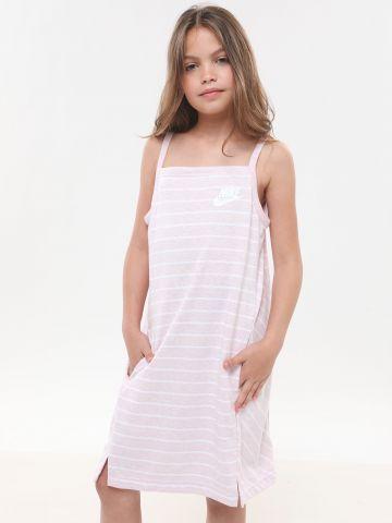 שמלת מלאנז' בהדפס פסים עם לוגו