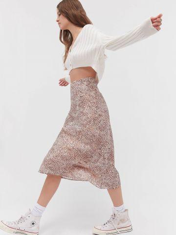 חצאית מידי סאטן בהדפס חברבורות UO