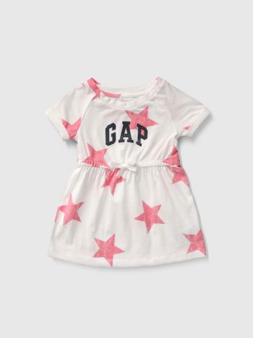שמלה בהדפס כוכבים עם לוגו / בנות