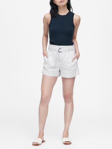 מכנסי פשתן קצרים בהדפס פסים