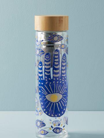 בקבוק אינפיוזר זכוכית בהדפס חמסה