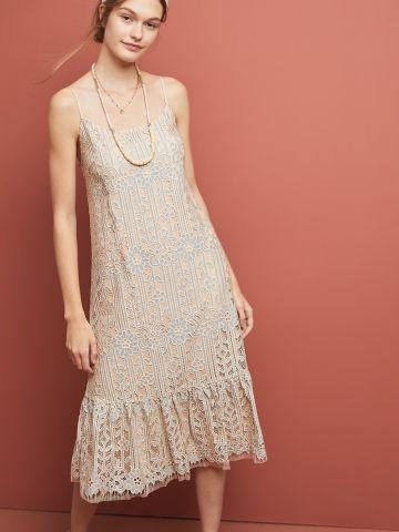 שמלת תחרה מידי עם סיומת פפלום Eri + Ali
