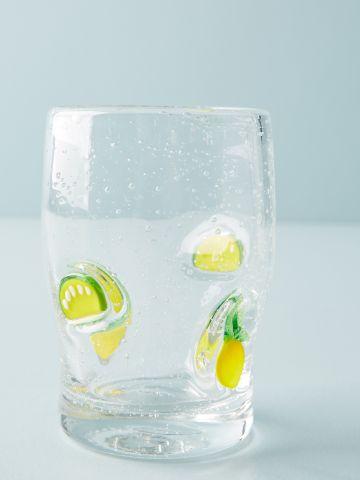 כוס שתייה מזכוכית בשילוב עיטורי לימונים Galleon