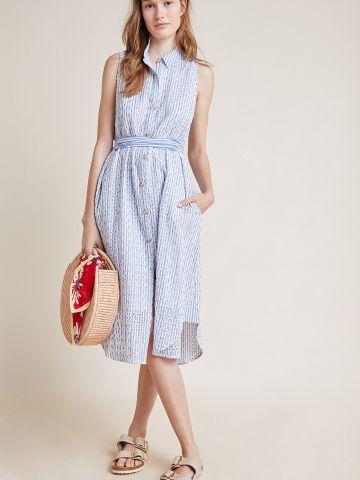שמלת מידי מכופתרת בהדפס פסים