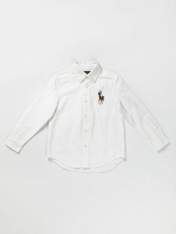 חולצה מכופתרת רקמת לוגו / 24M-3Y