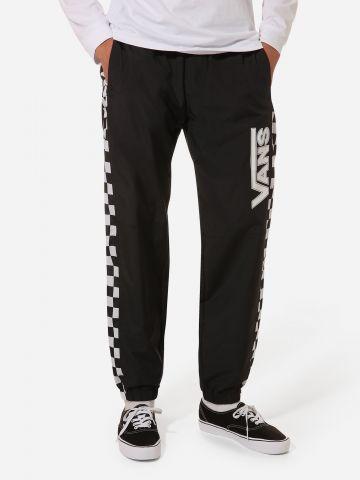 מכנסי ניילון לוגו ארוכים עם סטריפים דמקה
