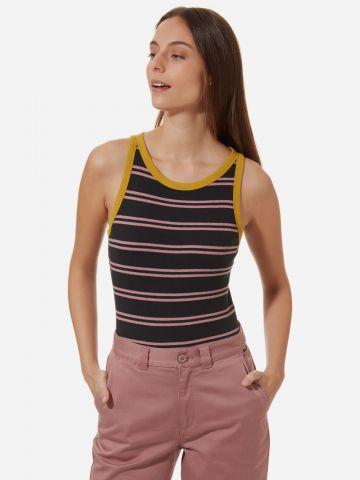 בגד גוף ריב בהדפס פסים עם סיומת מודגשת Lizzie Armanto X