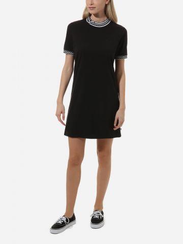 שמלת טי שירט מיני עם צווארון גבוה בהדפס משבצות