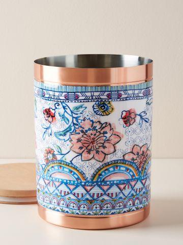 קופסת אחסון מפח בהדפס פרחים Luann