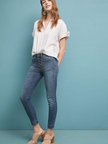 ג'ינס סקיני ארוך עם כפתורים בחזית Pilcro and the Letterpress
