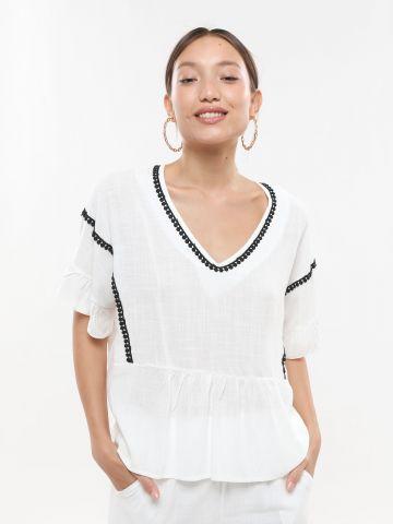 חולצת אוברסייז עם עיטורי רקמה