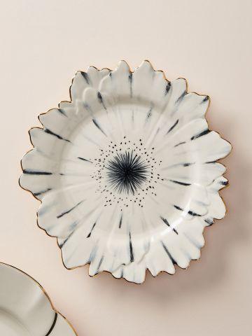 צלחת חרס פרח עם שוליים מוזהבים Papetal
