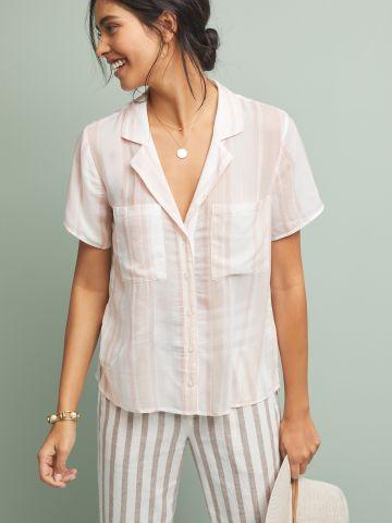 חולצת וי מכופתרת בהדפס פסים Cloth & Stone