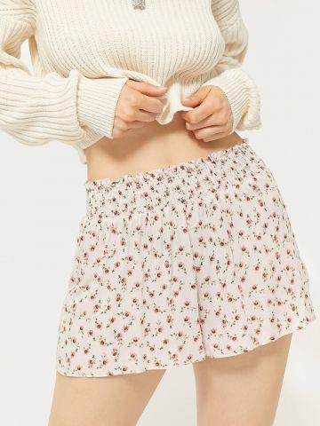 מכנסיים קצרים בהדפס פרחים עם גומי כיווצים Out From Under