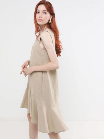 שמלת מידי פפלום אסימטרית