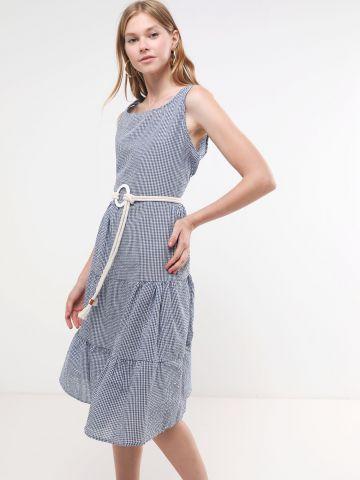 שמלת מידי קומות בהדפס משבצות