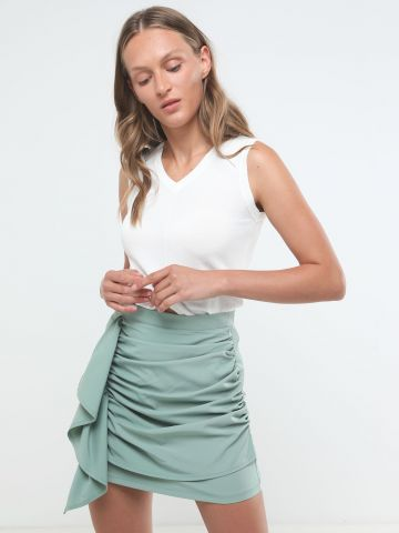 חצאית מיני קיפולי בד