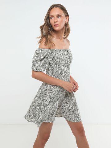 שמלת מיני אוף שולדרס בהדפס פרחים