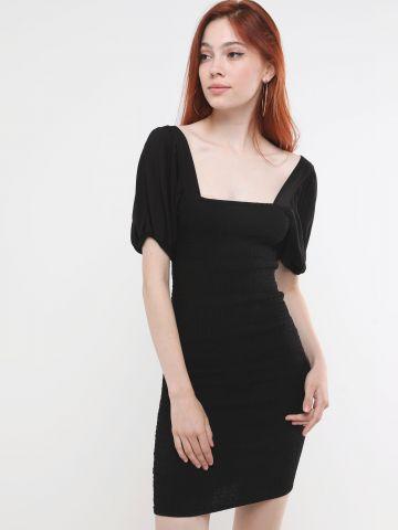 שמלת כיווצים מיני עם שרוולים נפוחים של TERMINAL X
