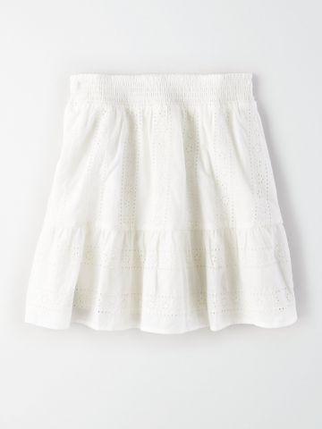 חצאית מיני עם עיטורי רקמה / נשים
