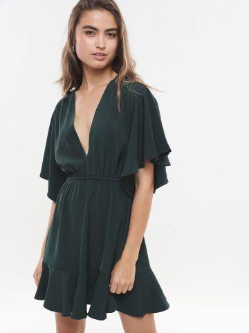 שמלת מיני וי בסיומת פפלום X איימי