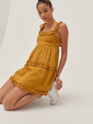 שמלת מיני מפשתן בסגנון קומות UO