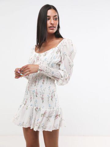 שמלת מיני בהדפס פרחים עם כיווצים