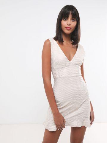 שמלת מיני רשת מעויינים בסיומת פפלום