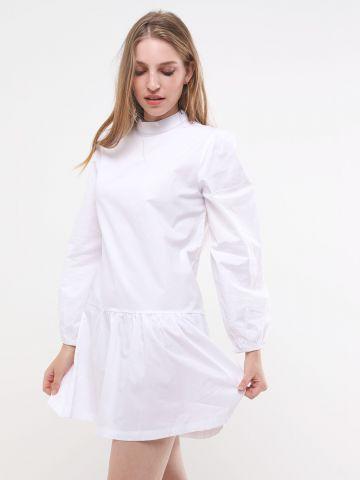 שמלת מיני פפלום עם שרוולים ארוכים