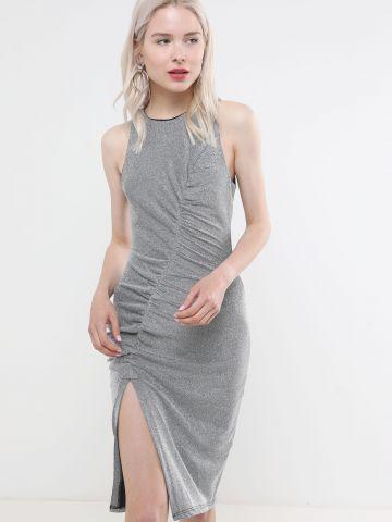 שמלת לורקס מידי עם כיווצים