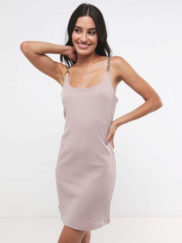 שמלת מיני ריב עם כתפיות שרשרת