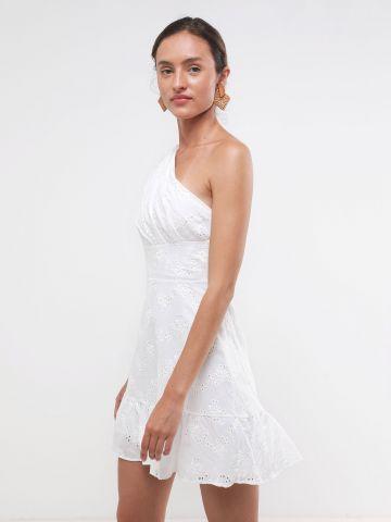 שמלת מיני וואן שולדר עם רקמה