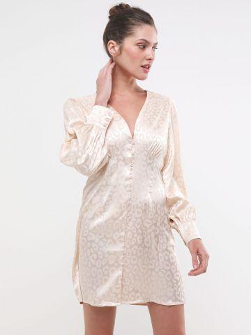 שמלת סאטן בהדפס מנומר עם כפתורים