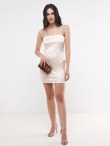 שמלת מיני סאטן בהדפס חברבורות