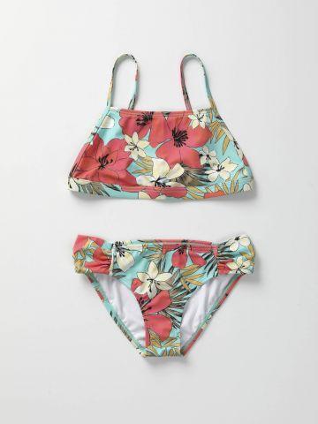 בגד ים ביקיני בהדפס פרחים / בנות